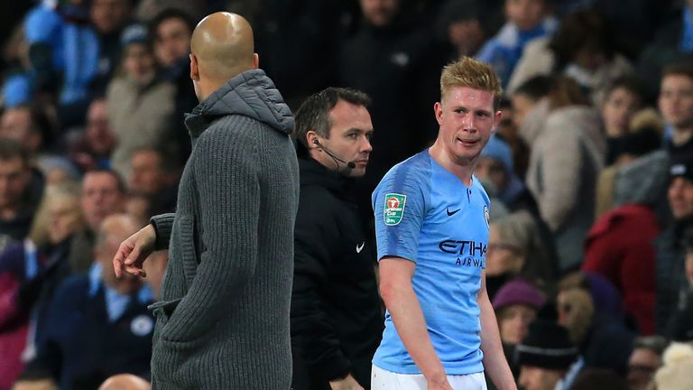 Kevin de Bruyne went straight down the tunnel for treatment