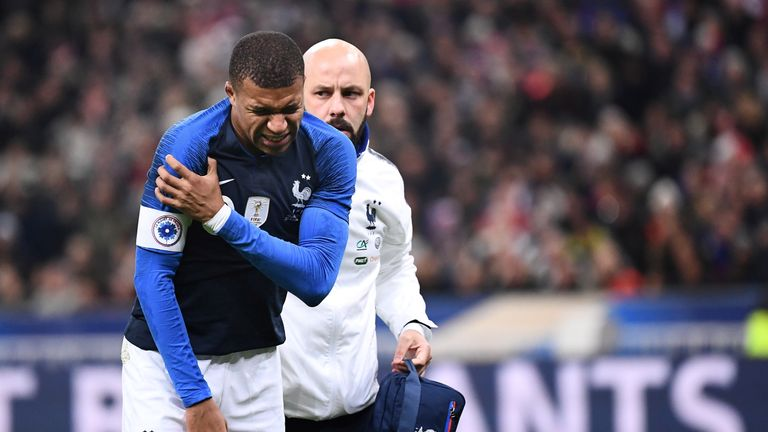 Kylian Mbappe suffered a shoulder injury in France's friendly against Uruguay on Tuesday
