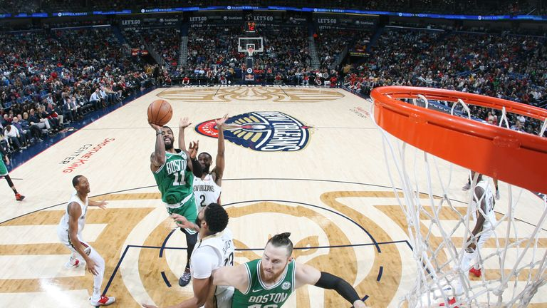 Kyrie Irving #11 of the Boston Celtics shoots the ball against the New Orleans Pelicans on November 26, 2018 at the Smoothie King Center in New Orleans, Louisiana.