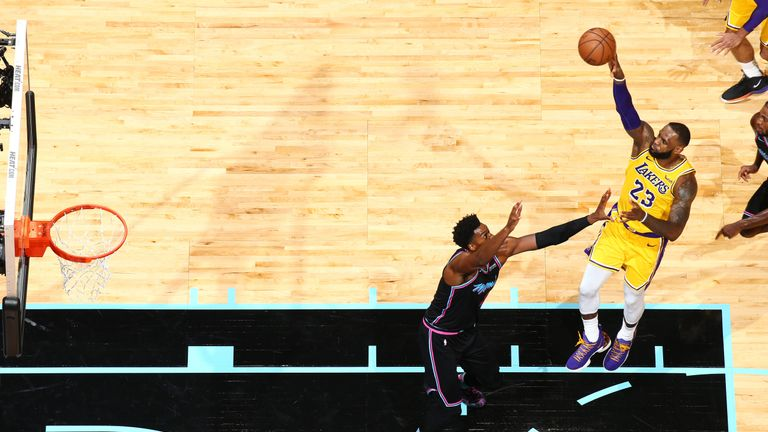 LeBron James #23 of the Los Angeles Lakers shoots the ball against the Miami Heat on November 18, 2018 at American Airlines Arena in Miami, Florida.