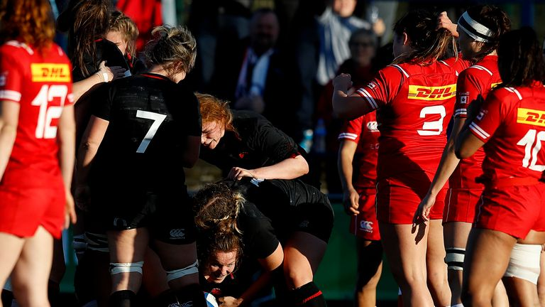 Lark Davies goes over for a try against Canada