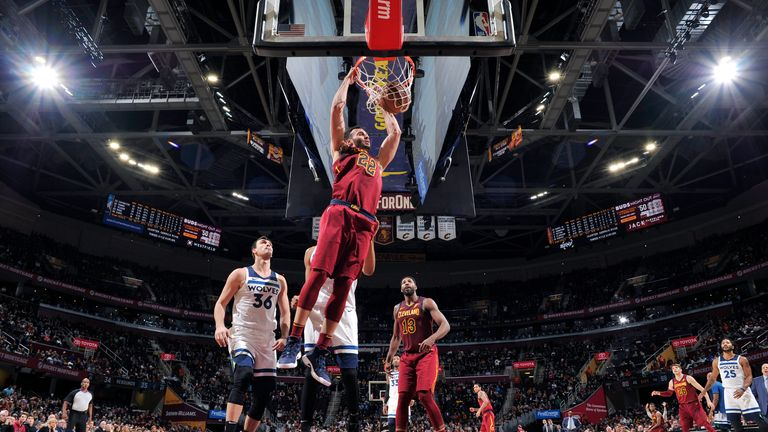 Larry Nance Jr. #22 of the Cleveland Cavaliers dunks the ball against the Minnesota Timberwolves on November 26, 2018 at Quicken Loans Arena in Cleveland, Ohio.