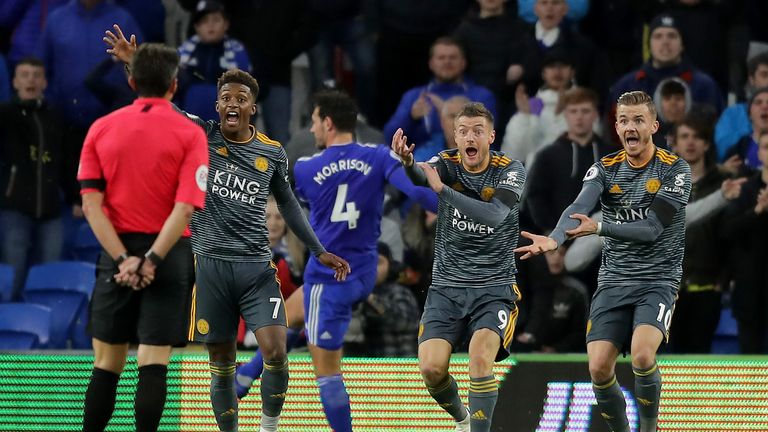 Leicester players had appeals for a penalty ignored