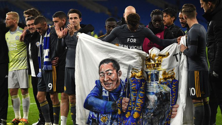 Leicester pay tribute to Vichai Srivaddhanaprabha following their 1-0 victory over Cardiff on Saturday