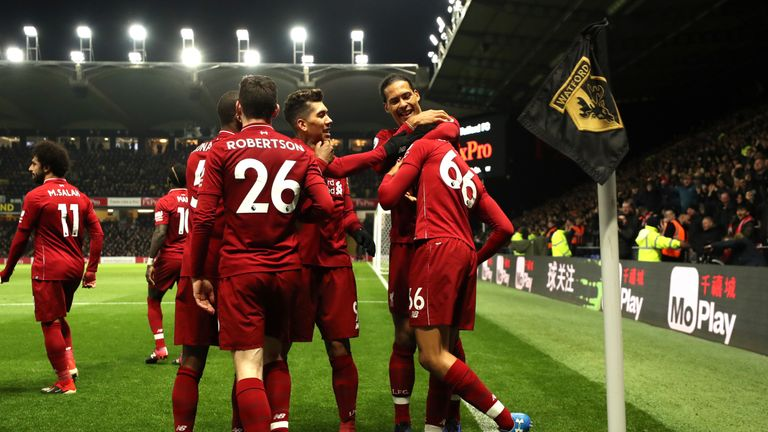 Liverpool beat Watford 3-0 at Vicarage Road to stay second in the Premier League
