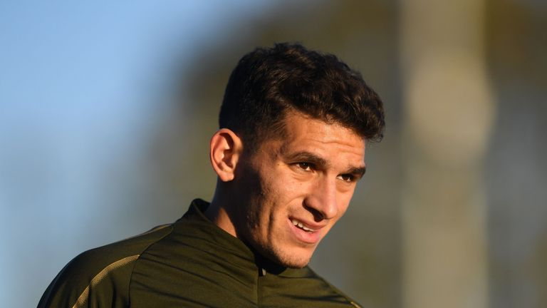 Lucas Torreira of Arsenal during a training session at London Colney on November 2, 2018 in St Albans, England. (Photo by Stuart MacFarlane/Arsenal FC via Getty Images)