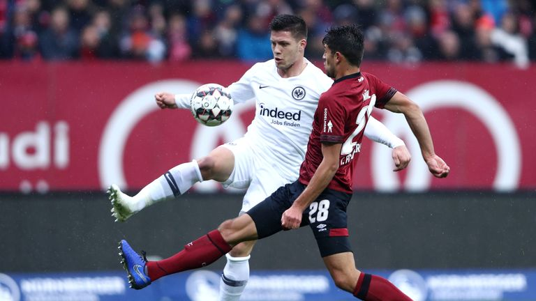 Eintracht Frankfurt striker Luka Jovic scores against Nuernberg in the Bundesliga