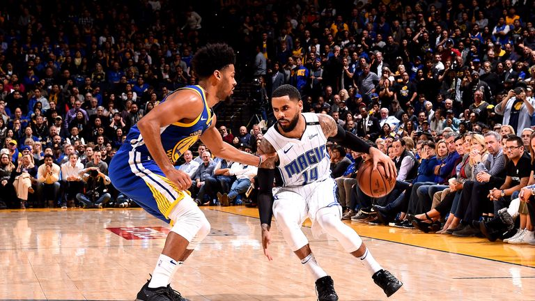 D.J. Augustin #14 of the Orlando Magic handles the ball against the Golden State Warriors on November 26, 2018 at ORACLE Arena in Oakland, California.
