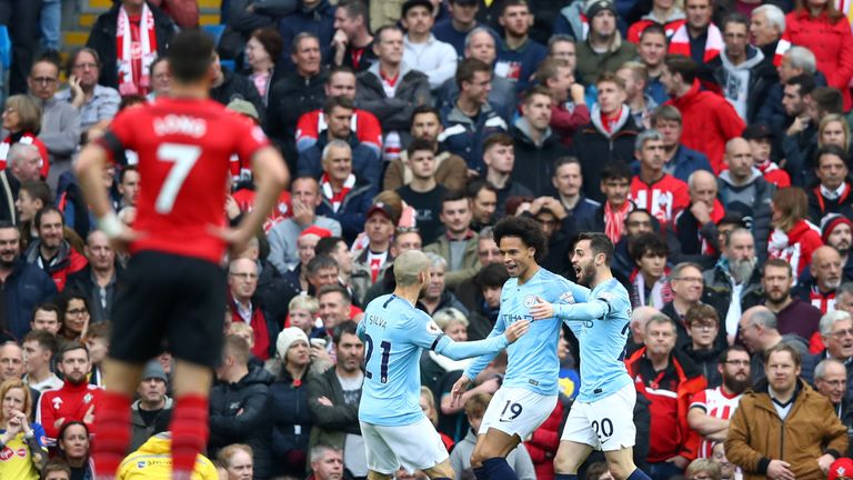 Manchester City celebrate going ahead against Southampton