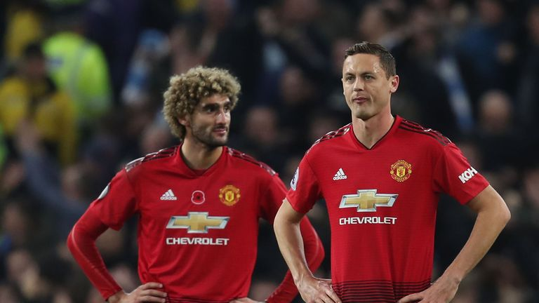 Manchester United's Marouane Fellaini and Nemanja Matic react to David Silva's opening goal for Manchester City in their 3-1 derby win at the Etihad Stadium