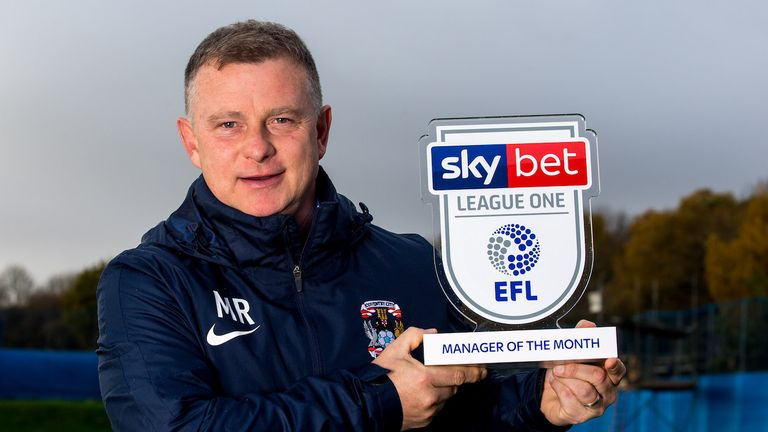 Mark Robbins of Coventry City wins the Sky Bet League One Manager of the Month award - Mandatory by-line: Robbie Stephenson/JMP - 08/11/2018 - FOOTBALL - Coventry City Training Ground - Coventry, England - Sky Bet Manager of the Month Award