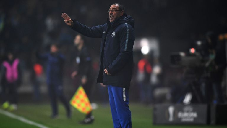 Maurizio Sarri's side kept up their unbeaten record in all competitions with victory in the Europa League on Thursday