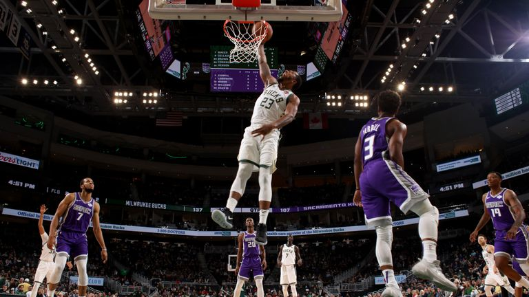 MILWAUKEE, WI - November 4: Sterling Brown #23 of the Milwaukee Bucks dunks the ball against the Sacramento Kings on November 4, 2018 at Fiserv Forum in Milwaukee, Wisconsin. NOTE TO USER: User expressly acknowledges and agrees that, by downloading and/or using this Photograph, user is consenting to the terms and conditions of the Getty Images License Agreement. Mandatory Copyright Notice: Copyright 2018 NBAE (Photo by Gary Dineen/NBAE via Getty Images)