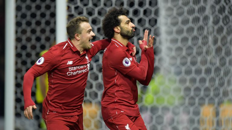 Mohamed Salah celebrates his goal with Xherdan Shaqiri