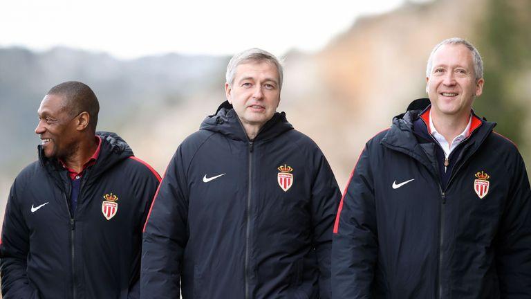 Monaco's sporting director Michael Emenalo (L), Rybolovlev and vice club President Vadim Vasilyev at Monaco's training camp in La Turbie