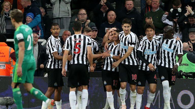 Newcastle players celebrate Ayoze Perez's winner against Watford