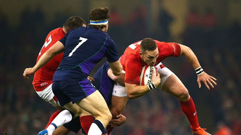 George North crosses the line for Wales in their home win