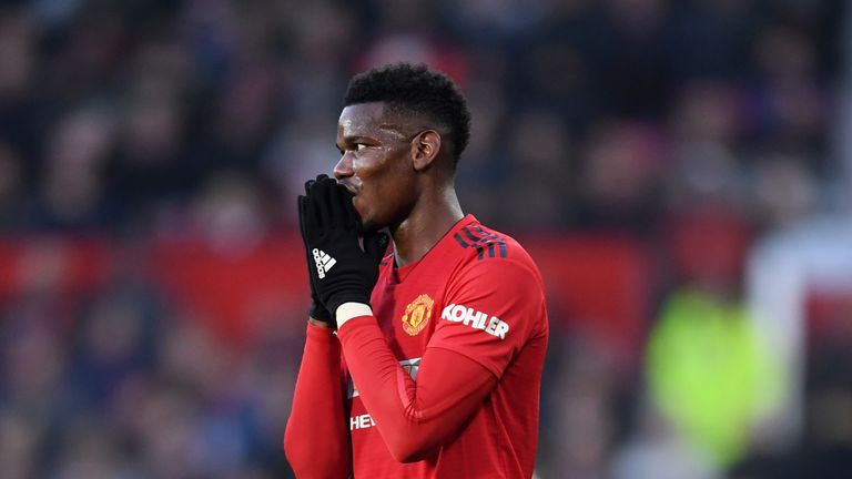 Paul Pogba during the Premier League match between Manchester United and Crystal Palace at Old Trafford