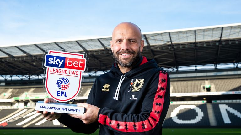 Paul Tisdale of MK Dons is presented with the Sky Bet League 2 Manager of the Month Award for October 2018 - Rogan/JMP - 05/11/2018 - FOOTBALL - Stadium MK - Milton Keynes, England.