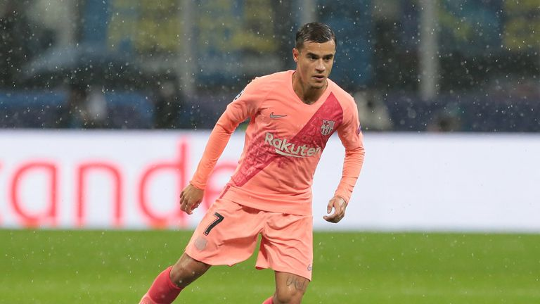 during the Group B match of the UEFA Champions League between FC Internazionale and FC Barcelona at San Siro Stadium on November 6, 2018 in Milan, Italy.
