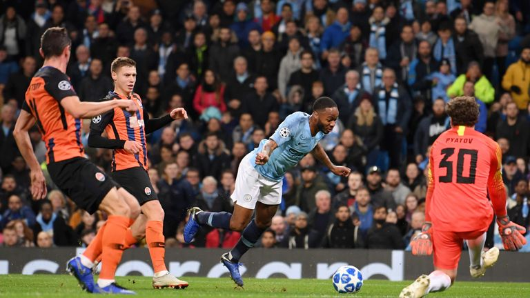 Sterling went on to score in City's rout of Shakhtar