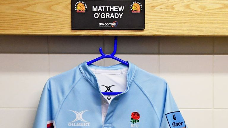 Referee Matthew O'Grady's shirt featured Rainbow Laces branding for the clash between Exeter Chiefs and Gloucester