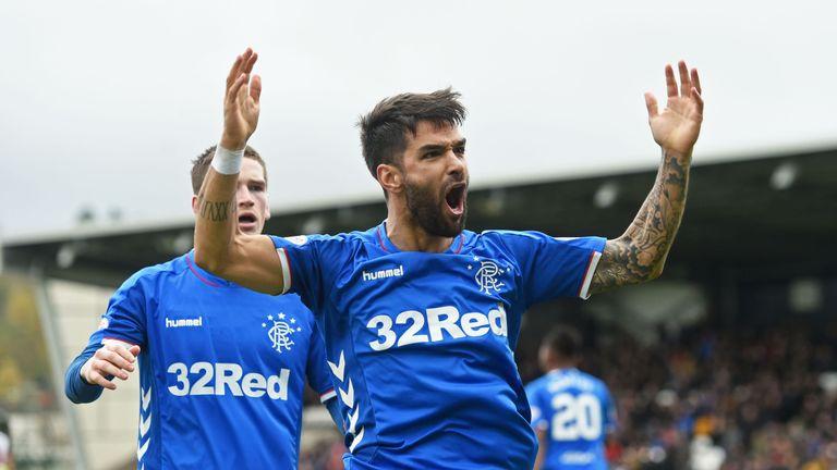 Rangers' Daniel Candeias celebrates making it 1-0 at St Mirren