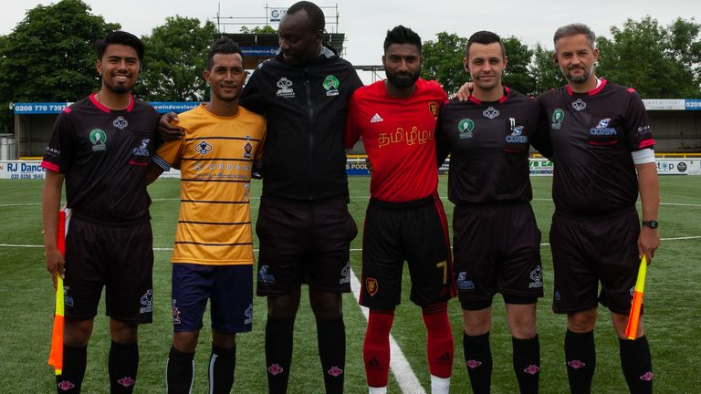 During May and June 2018 CONIFA Football World Cup in London. Thursday 6th June 12:00 pm at Sutton FC  played for places 13th-16th Tamil Eelam and Tuvalu teams. Raymond Mashamba, referee