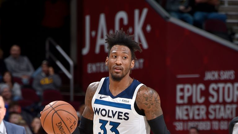 Robert Covington #33 of the Minnesota Timberwolves handles the ball against the Cleveland Cavaliers on November 26, 2018 at Quicken Loans Arena in Cleveland, Ohio.