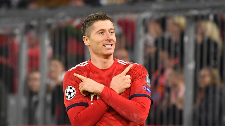 Robert Lewandowski scored twice for Bayern Munich
