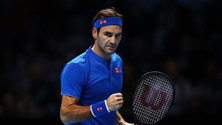 Roger Federer of Switzerland celebrates during his round robin match against Kevin Anderson of South Africa during Day Five of the Nitto ATP Finals at The O2 Arena on November 15, 2018 in London, England