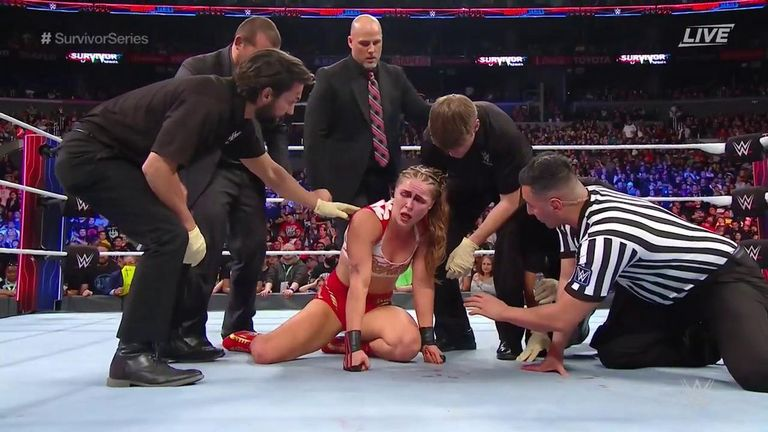 Ronda Rousey was left battered and bloodied after her match with Charlotte Flair