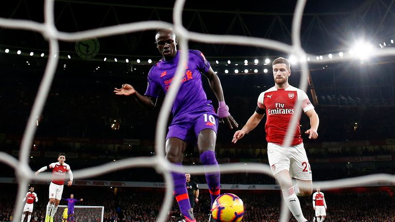 Sadio Mane saw a goal disallowed for offside at Arsenal
