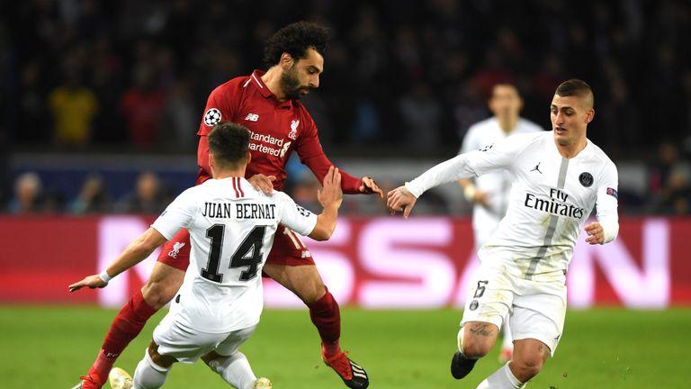during the UEFA Champions League Group C match between Paris Saint-Germain and Liverpool at Parc des Princes on November 28, 2018 in Paris, France.