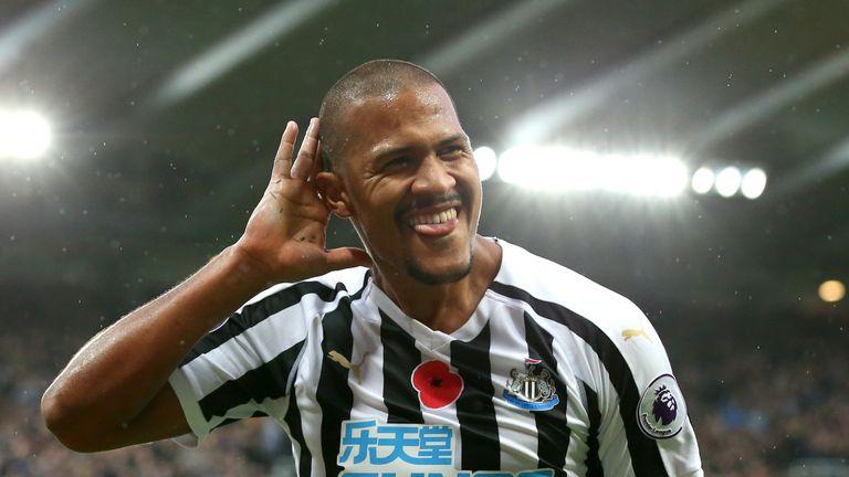 Salomon Rondon celebrates his second goal for Newcastle against Bournemouth