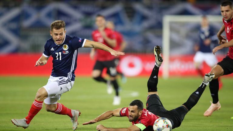 Ryan Fraser in action for Scotland in the Nations League
