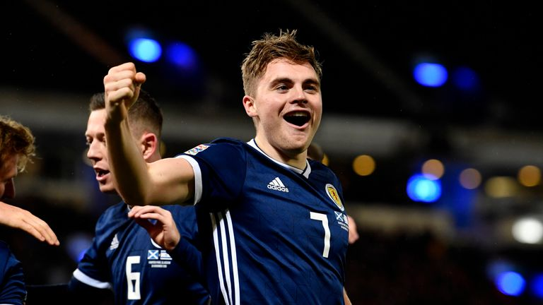 Scotland's James Forrest celebrates his goal to make it 3-1 against Israel