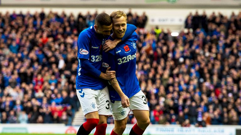 Scott Arfield (right) and Eros Grezda (left) both scored in Rangers' 7-1 demolition of Motherwell before the international break