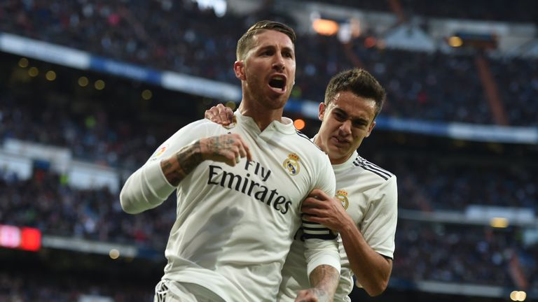 Sergio Ramos of Real Madrid celebrates with Sergio Reguilon after scoring his team's second goal