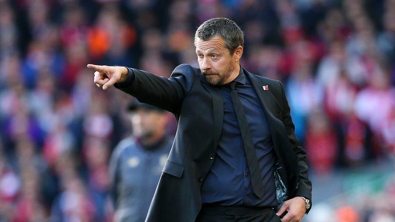 Slavisa Jokanovic gestures towards his players during the Premier League match against Liverpool