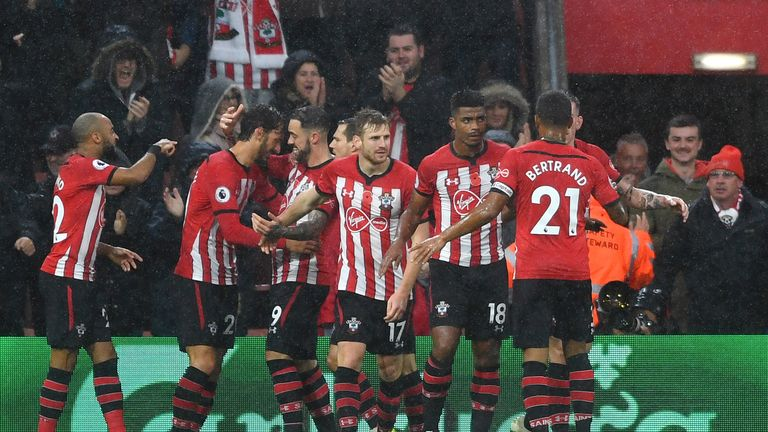 Southampton's players celebrate opening the scoring against Watford
