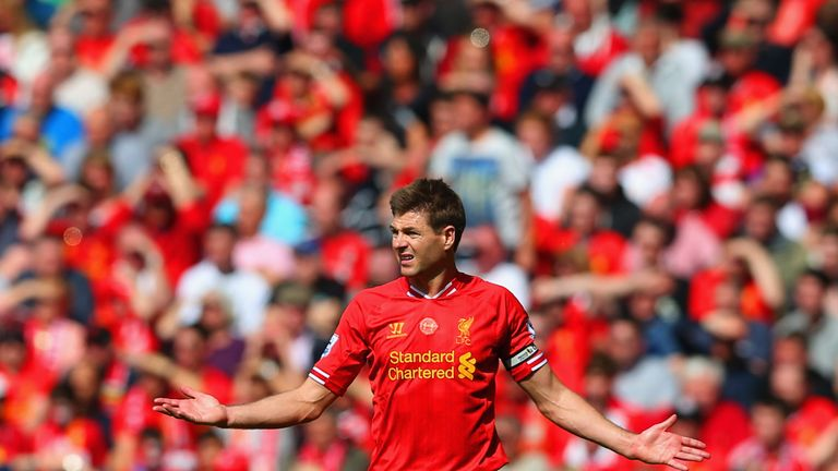 Steven Gerrard slipped in Liverpool's 2-0 defeat to Chelsea five years ago