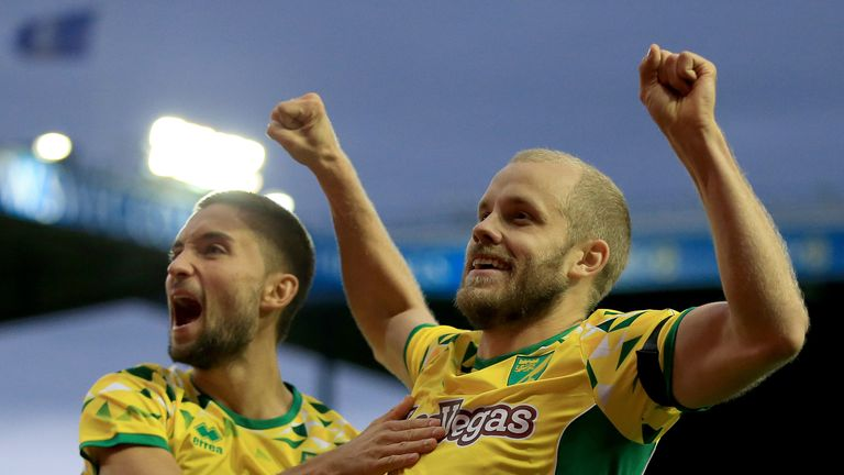 Norwich City's Teemu Pukki celebrates with team-mate Moritz Leitner after he scores his side's first goal.