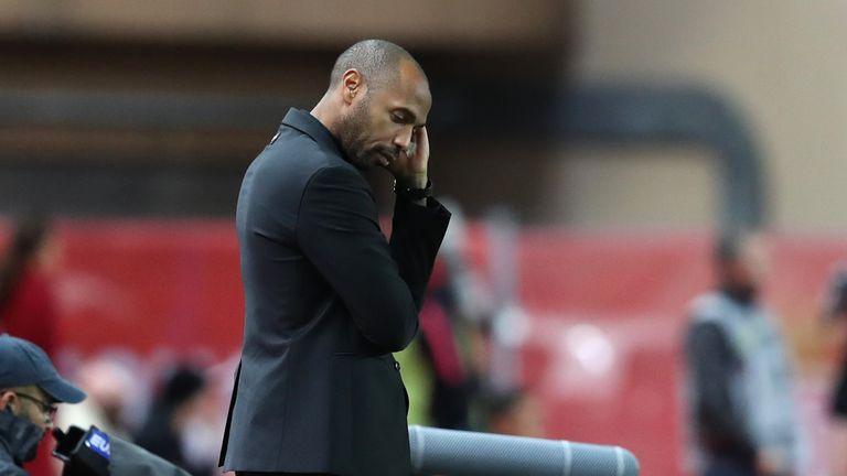 Thierry Henry feels the pressure as his Monaco side are beaten 4-0 at home Paris Saint-Germain