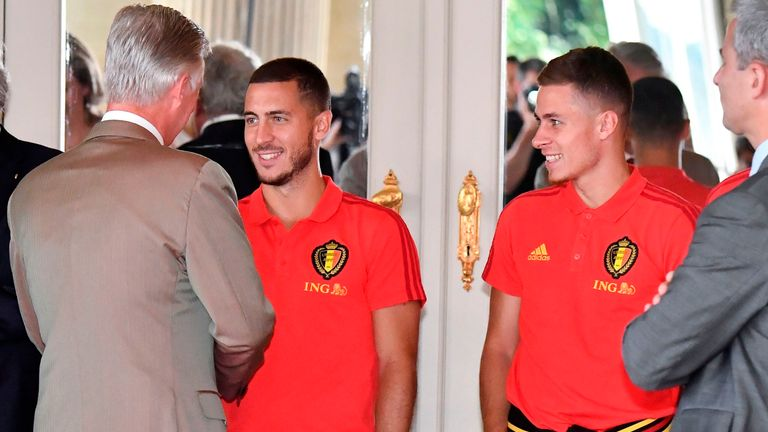 King Philippe of Belgium congratulates Eden and Thorgan at a reception for the national team following the 2018 World Cup
