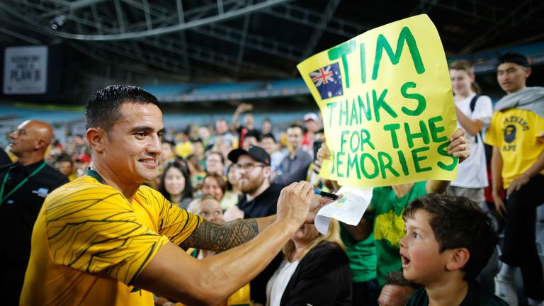 Tim Cahill played his 108th and final match for Australia on Tuesday