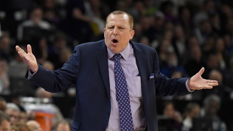 Head coach Tom Thibodeau of the Minnesota Timberwolves reacts during the third quarter of the game against the Portland Trail Blazers at Target Center on November 16, 2018 in Minneapolis, Minnesota.