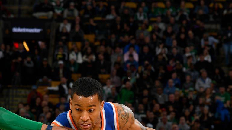 Trey Burke #23 of the New York Knicks handles the ball against the Boston Celtics on November 21, 2018 at TD Garden in Boston, Massachusetts.