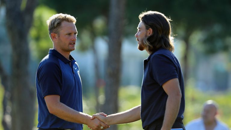 Lewis (left) played alongside Tommy Fleetwood during the second round