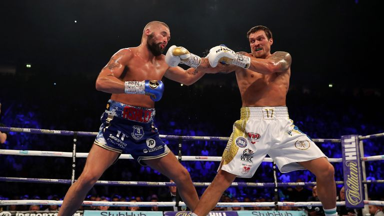 during the WBC, WBA, WBO, IBF & Ring Magazine World Cruiserweight Title Fight between Oleksandr Usyk and Tony Bellew at Manchester Arena on November 10, 2018 in Manchester, England.